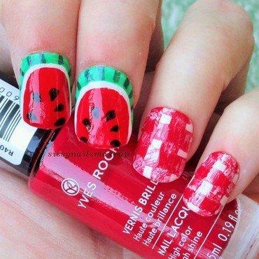 Watermelon picnic mani nail art by sissynailsmakeup