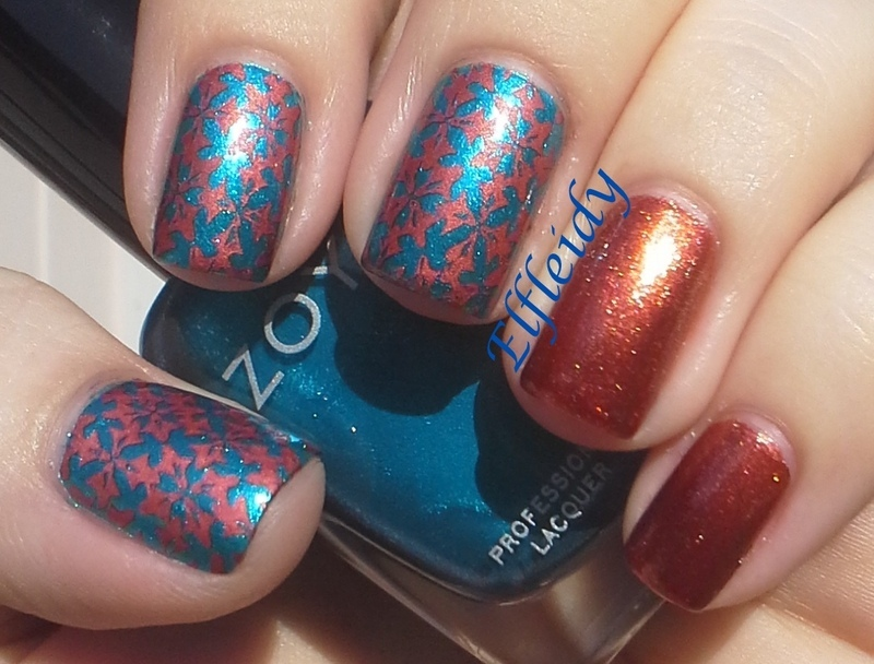 Blue and copper nail art by Jenette Maitland-Tomblin
