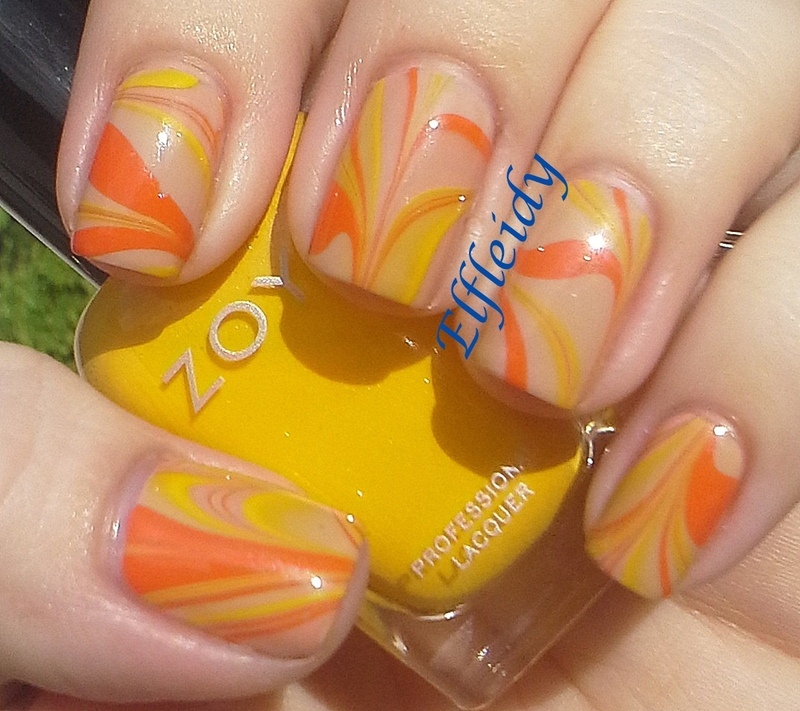 Bright and neutral water marble nail art by Jenette Maitland-Tomblin