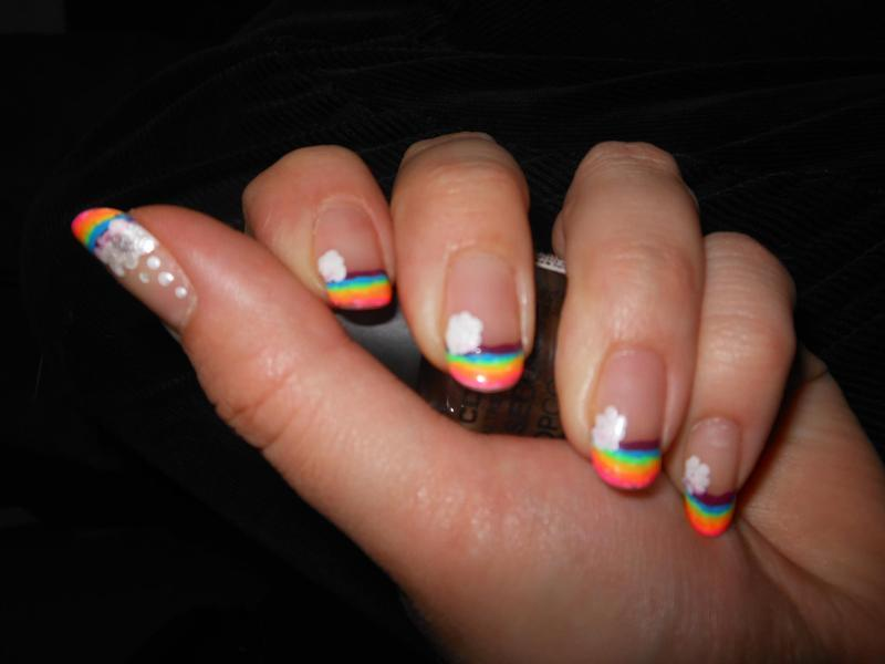 French Manicure Neon Rainbows Nail Art By Cecilia Brown Nailpolis