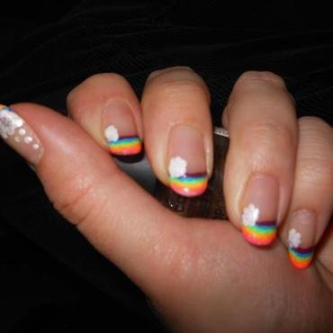 French Manicure Neon Rainbows nail art by Cecilia Brown