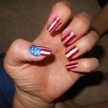 Stars n Stripes nail art by Cecilia Brown