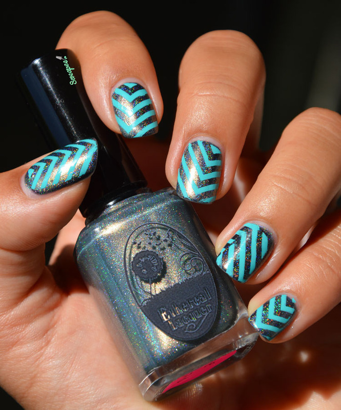 Stamping Chevrons nail art by Sweapee