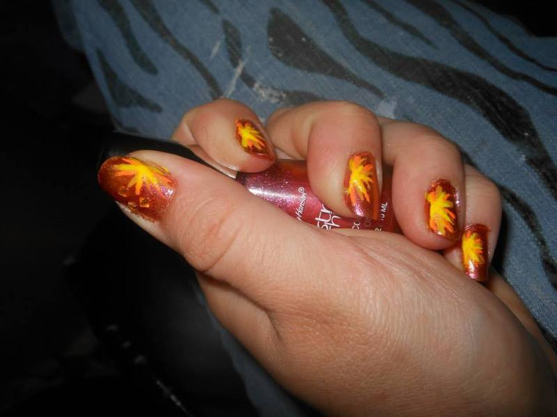 Lava Burst! nail art by Cecilia Brown
