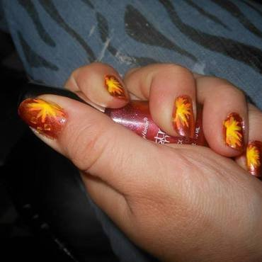Lava Burst! nail art by Cecilia Brown