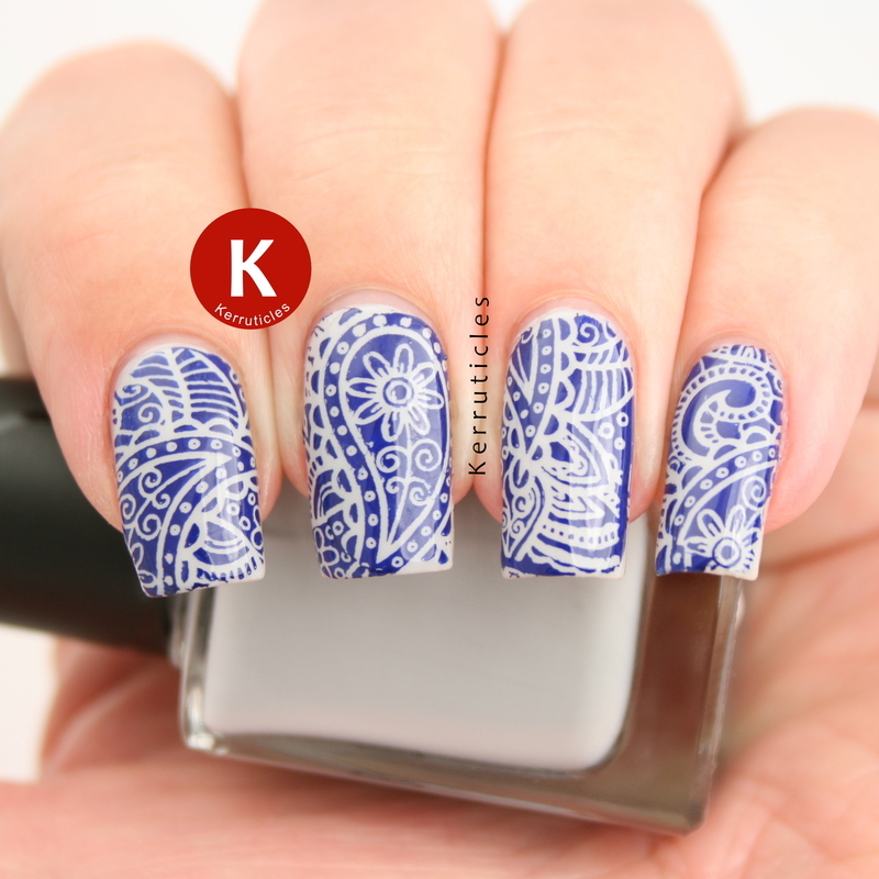Grey and navy paisley stamping nail art by Claire Kerr