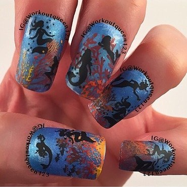 Did you see the Mermaids? nail art by Workoutqueen123