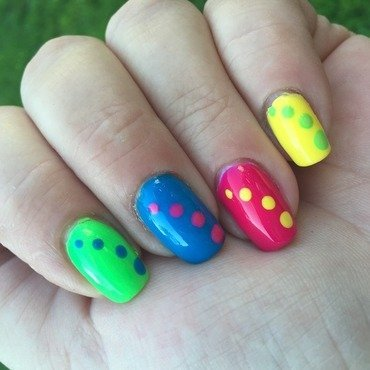 Neon dots nail art by crazyfishgirl