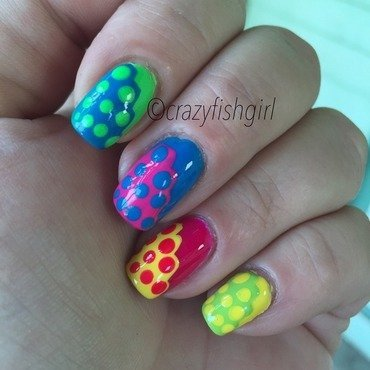 Neon abstract nail art by crazyfishgirl