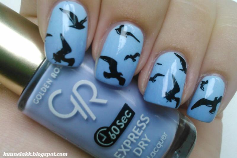 Birds nail art by Trii