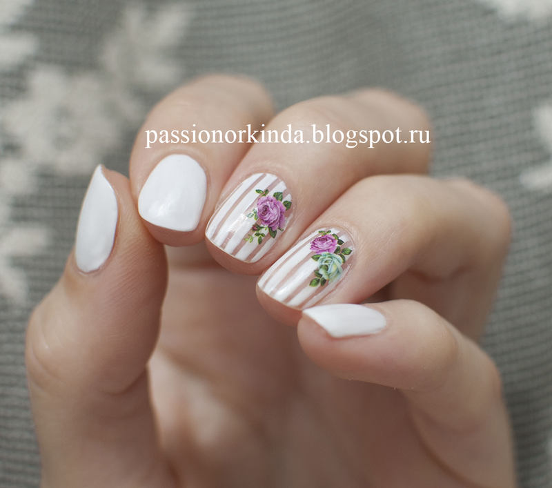 Rose water decals nail art by Passionorkinda