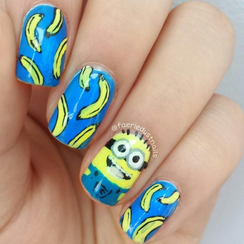 Minion Banana Nails nail art by Shirley X.