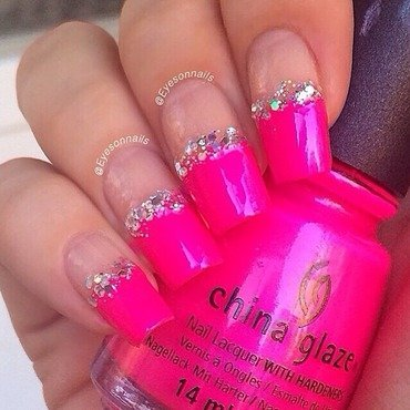 Pink french & glitter  nail art by Virginia