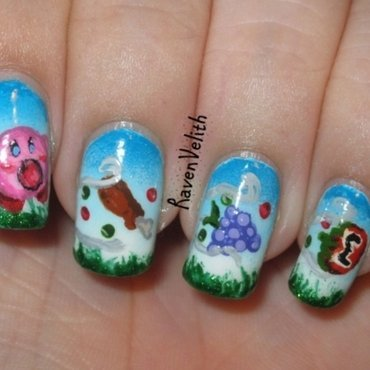 Kirby's Feast Pt. 1 nail art by Lynni V.