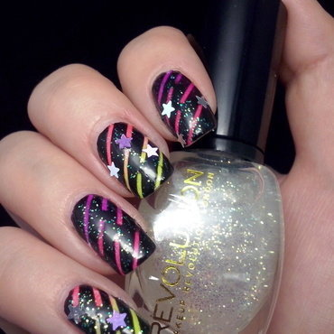 Neon nails nail art by Alice in Wonderland CZ
