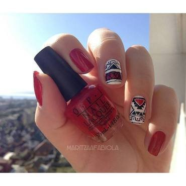 Aztec nails nail art by Mary