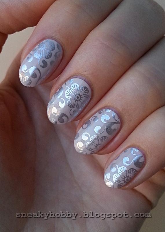 Elegant Silver Flowers nail art by Mgielka M