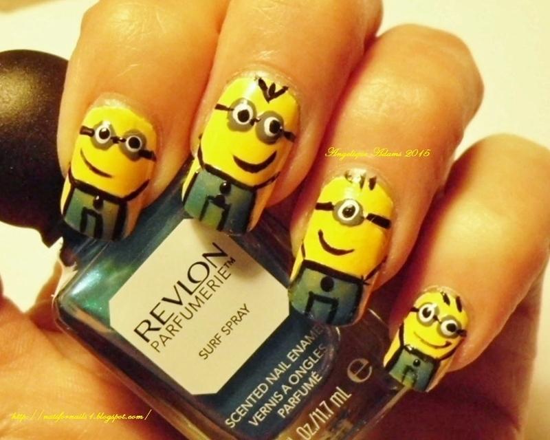 Minions  nail art by Angelique Adams