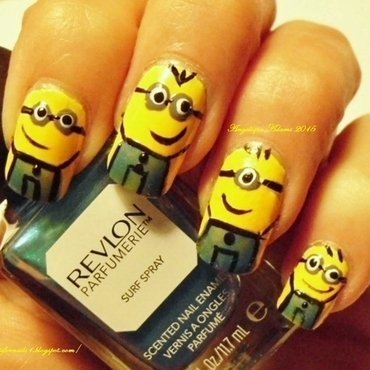 Minions  nail art by Angelique Adams