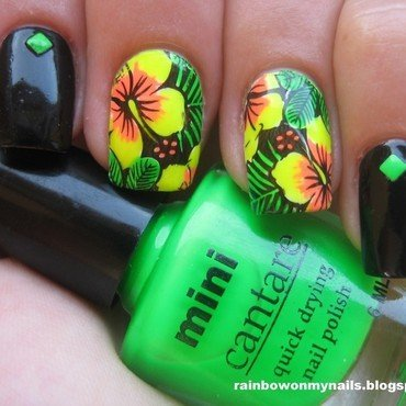 Hawaiian flowers nail art by specialle