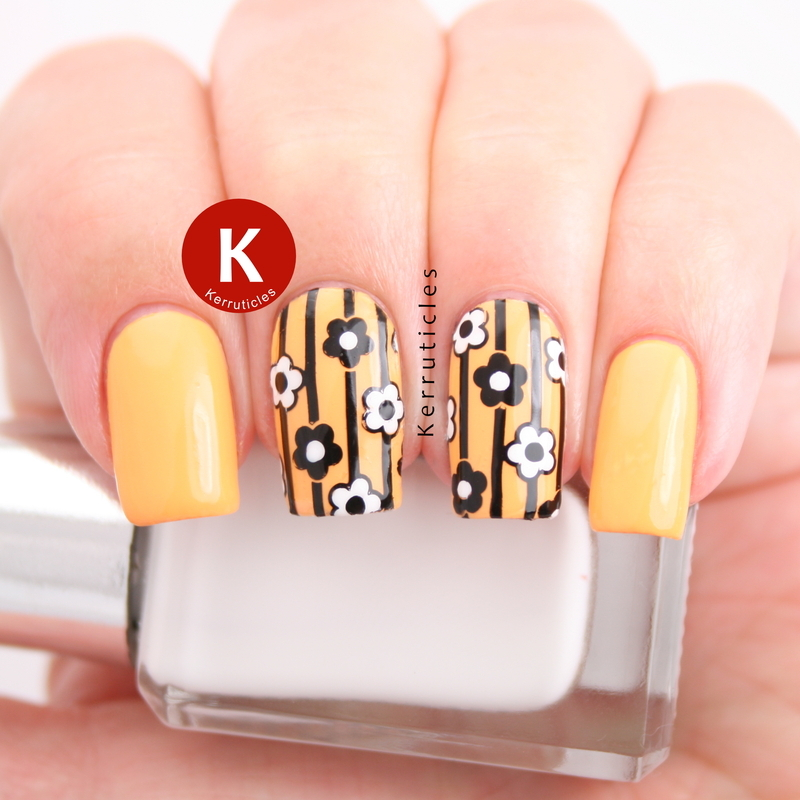 Yellow, black and white stripes and flowers nail art by Claire Kerr