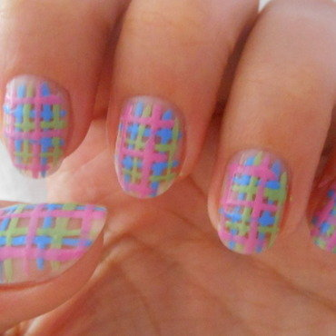 Plaid2 nail art by Brankica