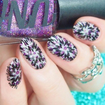 Stamping Over a Dotticure nail art by Lou