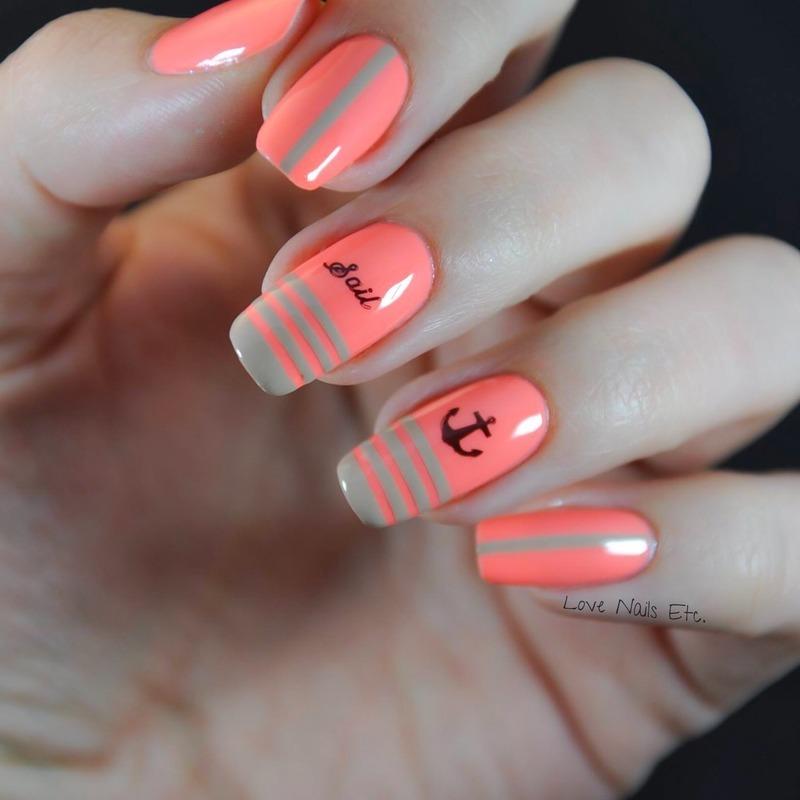 Nautical nail art by Love Nails Etc