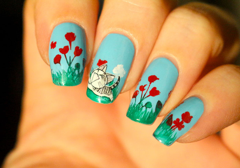 Kitten and spring nail art by Tribulons