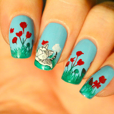 Ainail art printemps fleurs manucure chaton plaque stamping moyou mother nature 01 water decals chaton 340 kiko vernis 8 thumb370f