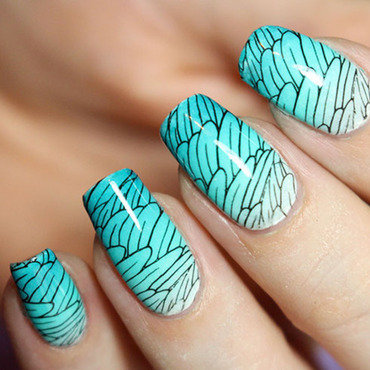 Nailart bird lakodom lagoon picturepolish gradient nails tutorial wings chez delaney stamping 4 thumb370f