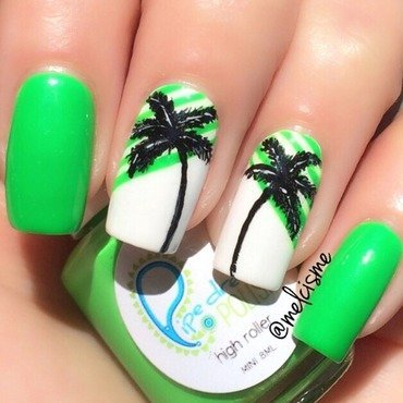 Palm Trees nail art by Melissa