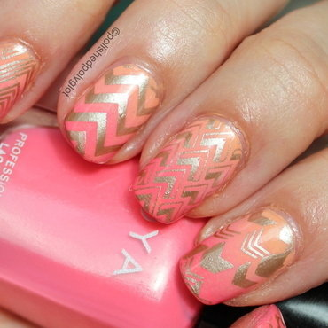 Sunrise gradient with gold stamping nail art by Polished Polyglot