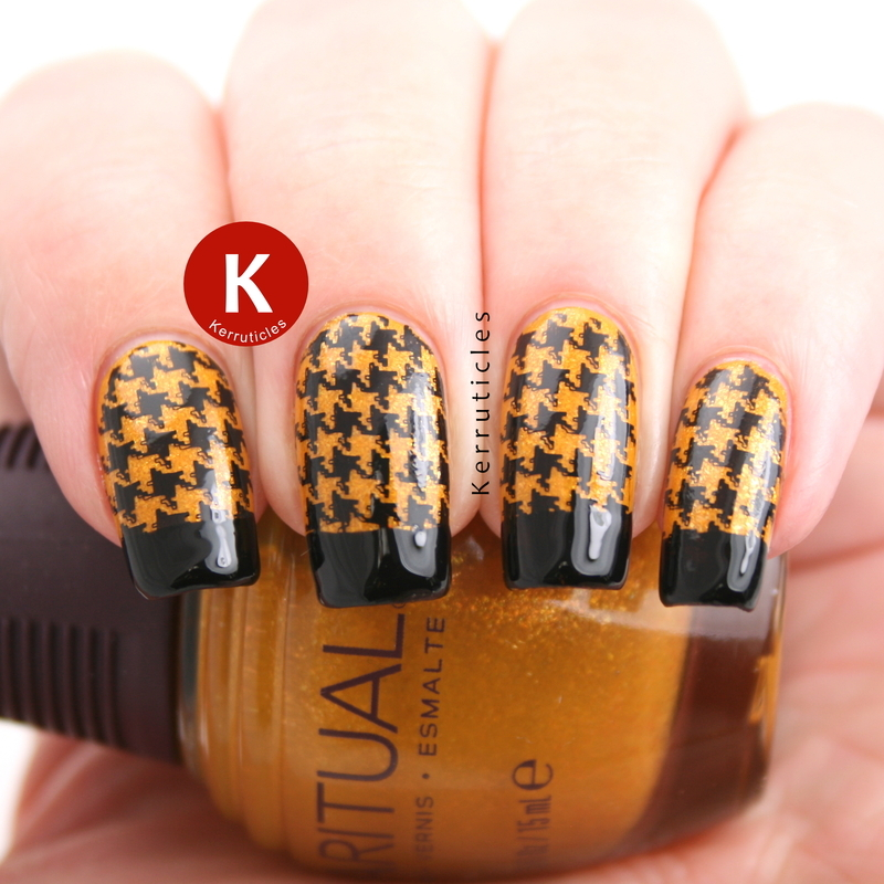 Gold and black houndstooth French tips nail art by Claire Kerr