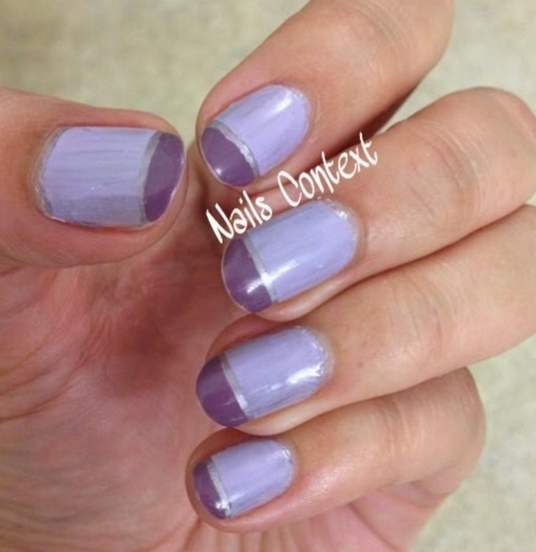 Simple Purple Colorblock nail art by NailsContext