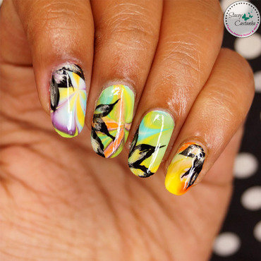 Water Marbling with Abstract Nails nail art by Stacey  Castanha