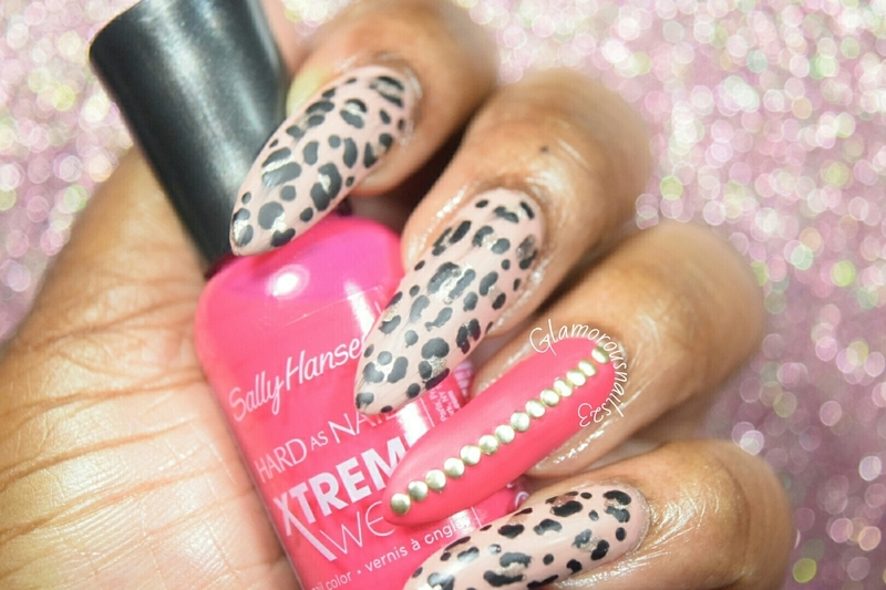 Matte Leopard Print & Studs nail art by glamorousnails23