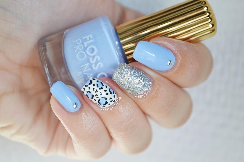 Blue animalprint nail art by Julia