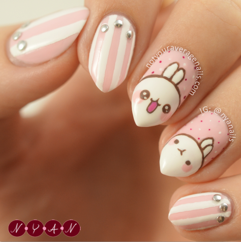 Molang (Take Two) nail art by Becca (nyanails)