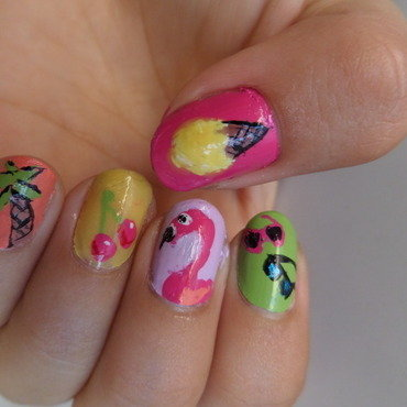 Cool for the summer inspired nail art by Luzazul