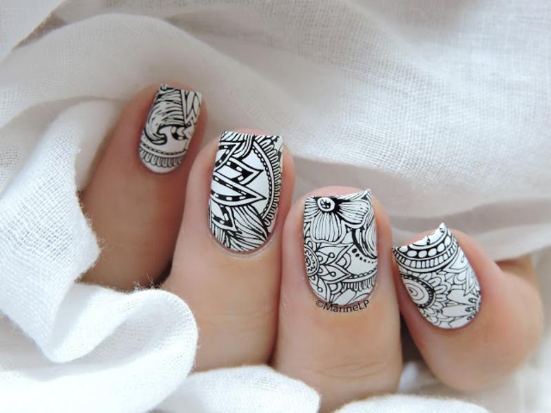 Black&White nail art by Marine Loves Polish