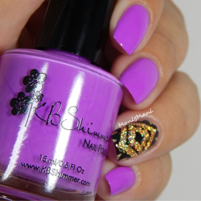 Purple bling  nail art by Moni'sMani