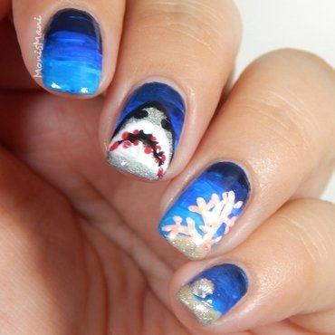 Shark week  nail art by Moni'sMani
