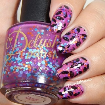 Stamped fuchsia nail art by Moni'sMani