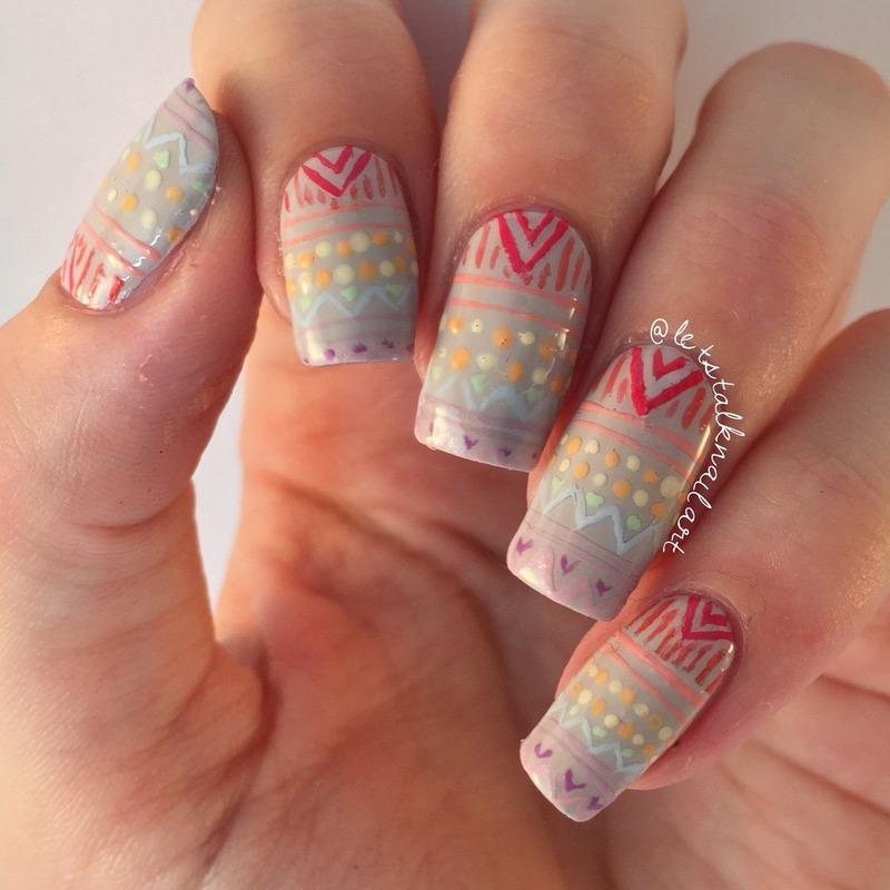 Rainbow Aztec nail art by Lottie