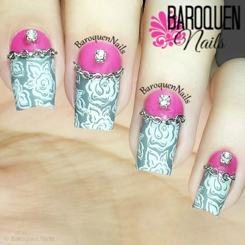Pink And Gray Floral II nail art by BaroquenNails