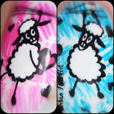 Microshot of the cuties from 'Sheep In Love' mani nail art by Lou