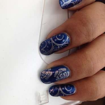 Blue and Silver Stamping nail art by Anjali Nair
