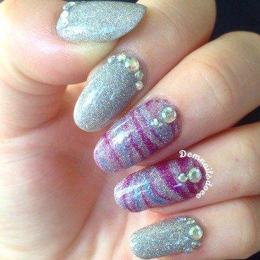 Holo, watermarble & rhinestones nail art by demnailsdoee