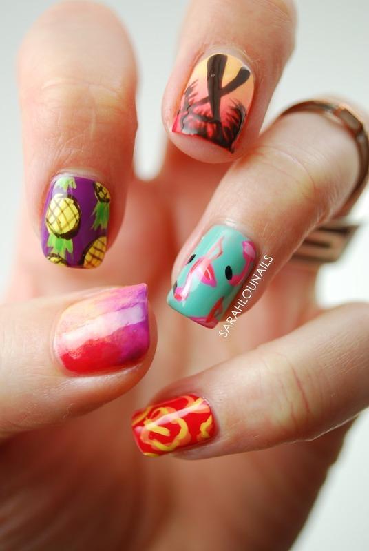 Summer Print Nails nail art by Sarah S